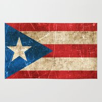 puerto rico Area & Throw Rugs featuring Vintage Aged and Scratched Puerto Rican Flag by Jeff Bartels
