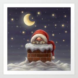 Little Santa in a chimney Art Print
