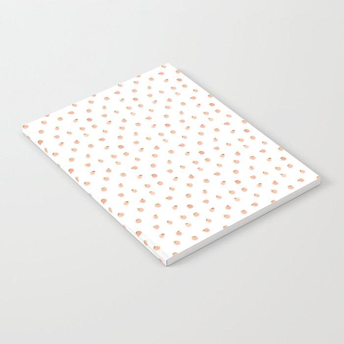Sweet Peach Polka Dot, White Notebook
