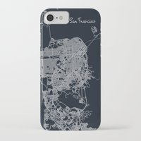 san francisco map iPhone & iPod Cases featuring San Francisco Map by chiams