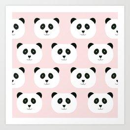 Panda Love -Pink Art Print