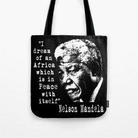 mandela Tote Bags featuring Mandela by PsychoBudgie