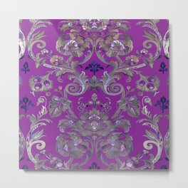 Painted Tibetan Brocade purple Metal Print