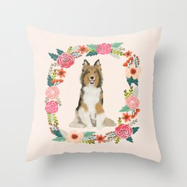 Sheltie floral wreath dog breed shetland sheepdog pet portrait Throw Pillow