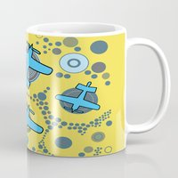 airplanes Mugs featuring blue airplanes by Isabella Asratyan