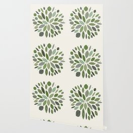 Mid-Century Green Leaves Wallpaper