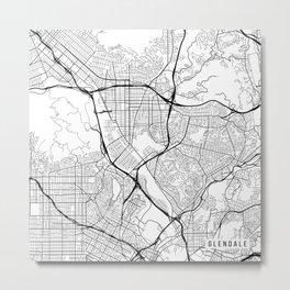 Glendale Map, USA - Black and White Metal Print