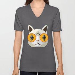Ethereum Cat Hipster Unisex V-Neck