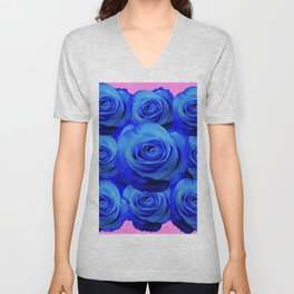 BLUE ROSE GARDEN & PINK PATTERN ART Unisex V-Neck