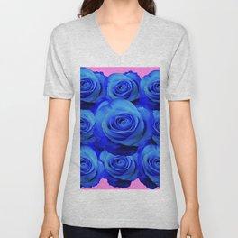 BLUE ROSE GARDEN & PINK PATTERN ART Unisex V-Neck