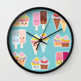 Kawaii cupcakes, ice cream in waffle cones, ice lolly Wall Clock