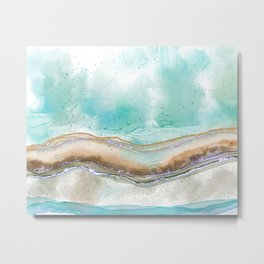 Turquoise Abstract Landscape Metal Print