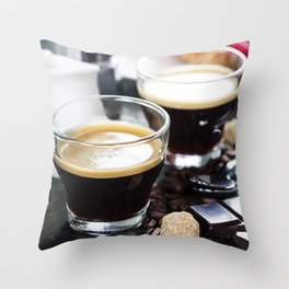 Breakfast with coffee and croissants Throw Pillow