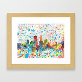 indianapolis city skyline watercolor 6 Framed Art Print