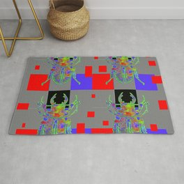 RED CUBIC GREY ART WITH BEETLE & PURPLE ACCENTS Rug