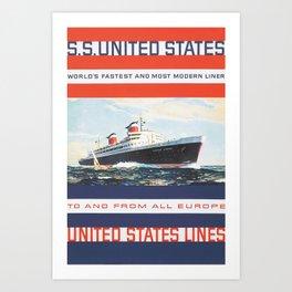 SS United States (1955), American, Modern, Ships, Travel Poster Art Print