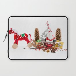 Santa Claus on wooden sled Laptop Sleeve