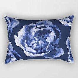 Pastel Blue Flowers On A Dark Blue Background #decor #society6 #buyart Rectangular Pillow