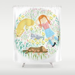 Summer Afternoon With Dogs, Cats And Clouds Shower Curtain