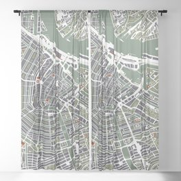 Amsterdam city map engraving Sheer Curtain