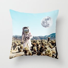 Collage, Astronaut, Desert, Moon, Creative, Nature, Modern, Trendy, Wall art Throw Pillow