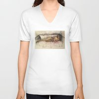 contemporary V-neck T-shirts featuring Contemporary nude by Frances Roughton