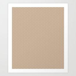 Pantone Hazelnut Double Scallop Wave Pattern Art Print