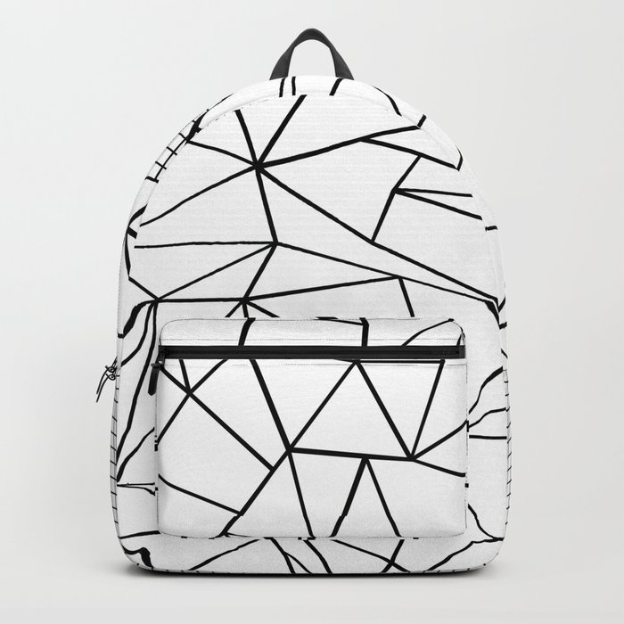Abstraction Outline Grid on Side White Backpack