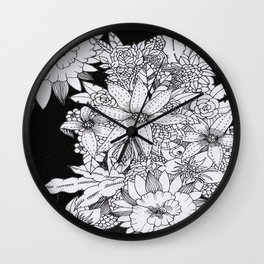 Flowers over Stars Wall Clock