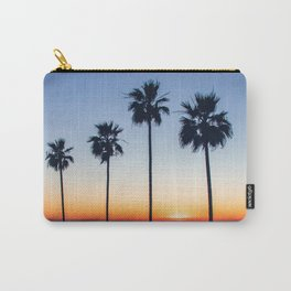 Sunset Ocean Palm trees Silhouettes (blue and orange) Carry-All Pouch