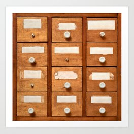 Backgrounds and textures: very old wooden cabinet with drawers Art Print