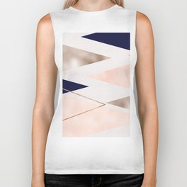 Rose gold french navy geometric Biker Tank