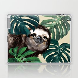 Sneaky Sloth with Monstera Laptop & iPad Skin
