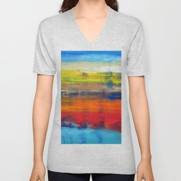 Horizon Blue Orange Red Abstract Art Unisex V-Neck