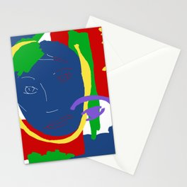 Abstract Painting Female Face Stationery Cards
