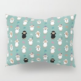 Seamless vector pattern with sheep and flowers Pillow Sham