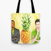 psych Tote Bags featuring Psych The Pineapple by KP Designs