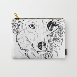 Wolf and Flowers Carry-All Pouch