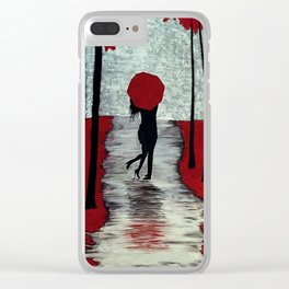 Red Autumn Rain Romance Clear iPhone Case