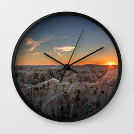South Dakota Sunset - Dusk in the Badlands Wall Clock