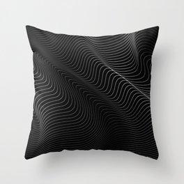 black minimal curves Throw Pillow