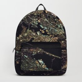 New York City - Manhattan, Brooklyn, New Jersey Satellite Night View Photograph Backpack