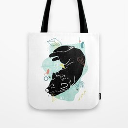 Dreaming wolf illustration Tote Bag