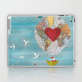 Christmas Santa Claus in a Hot Air Balloon for Peace Laptop & iPad Skin