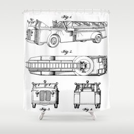 Fire Truck Patent - Aerial Fireman Truck Art - Black And White Shower Curtain