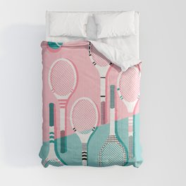 Got Served - tennis country club sports athlete retro throwback memphis 1980s style neon palm spring Comforters
