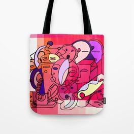 Red White Commotion Tote Bag