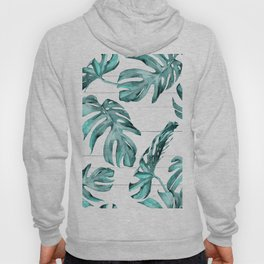 Turquoise Palm Leaves on White Wood Hoody