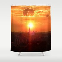 russia Shower Curtains featuring sunset in Russia by gzm_guvenc
