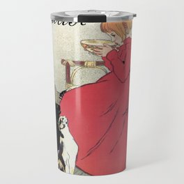 Vintage Art nouveau French milk advertising, cats, girl Travel Mug